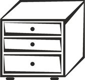 Cabinet with drawers. Black and white cabinet with drawers Stock Image