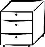 Cabinet with drawers. Black and white cabinet with drawers Stock Photo