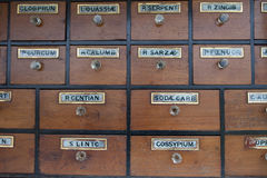 Cabinet of drawers with vintage labels Stock Photo