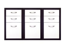Cabinet Draws. A set of cabinet draws isolated against a white background Stock Photography