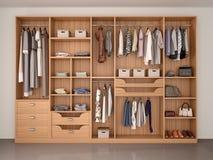 Cabinet en bois de garde-robe complètement de différentes choses Image stock