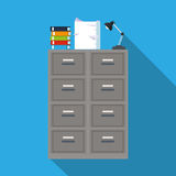 Cabinet file archive books document lapm office blue background. Vector illustration eps 10 Royalty Free Stock Photo