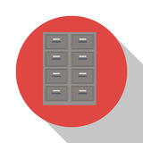 Cabinet file document office with shadow. Vector illustration Stock Photography