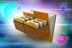 Cabinet with file folder. In color background Stock Photography