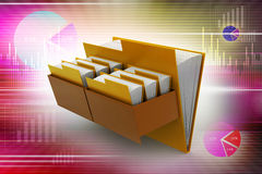 Cabinet with file folder. In color background Royalty Free Stock Image