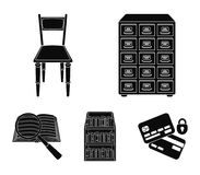 Cabinet with filing cabinet, chair, shelves, information search. Library and bookstore set collection icons in black. Style vector symbol stock illustration Stock Photos