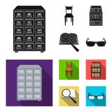 Cabinet with filing cabinet, chair, shelves, information search. Library and bookstore set collection icons in black. Flat style vector symbol stock Royalty Free Stock Photography