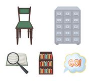 Cabinet with filing cabinet, chair, shelves, information search. Library and bookstore set collection icons in cartoon. Style vector symbol stock illustration Royalty Free Stock Photo