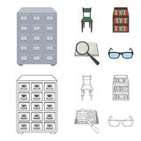 Cabinet with filing cabinet, chair, shelves, information search. Library and bookstore set collection icons in cartoon. Outline style vector symbol stock Stock Image