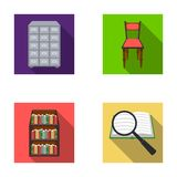 Cabinet with filing cabinet, chair, shelves, information search. Library and bookstore set collection icons in flat. Style vector symbol stock illustration Royalty Free Stock Images