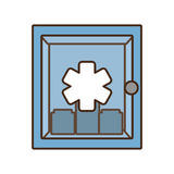 Cabinet first aid kit medical cross symbol Royalty Free Stock Images
