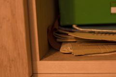 Cabinet folder mess shelf morning day school children stock photo