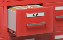 Cabinet full of CV curriculum vitae documents and files. 3D rendered illustration.  Royalty Free Stock Image
