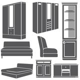 Cabinet and furniture set Royalty Free Stock Photos