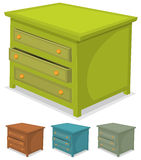 Cabinet Green Set. Illustration of a set of cartoon wooden cabinet furniture in various colors Royalty Free Stock Photography
