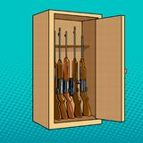 Cabinet with guns pop art vector illustration Stock Photos