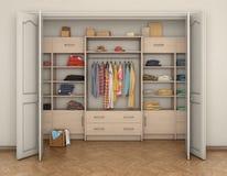 Cabinet intérieur et grand de pièce vide avec des vêtements ; illustration libre de droits