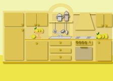 Cabinet kitchen. Illustrations a computer Royalty Free Stock Images