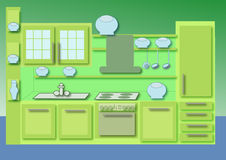 Cabinet kitchen. Green cabinet kitchen  illustration Royalty Free Stock Photos