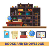 Cabinet and library. Bookcase. Cabinet and library. Books and knowledge. Vector flat illustration and icon set Royalty Free Stock Photography
