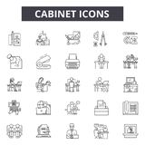 Cabinet line icons for web and mobile design. Editable stroke signs. Cabinet  outline concept illustrations. Cabinet line icons for web and mobile. Editable royalty free illustration