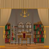 Cabinet or living room interior with antique furniture. royalty free illustration