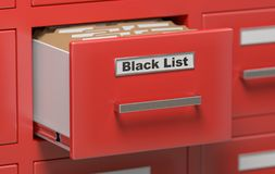 Cabinet in office with Black List folders. 3D rendered illustration Royalty Free Stock Photography