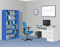 Cabinet office in blue. Vector illustration Royalty Free Stock Photo