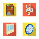 Cabinet, shelving with books and documents, frames on the wall, round clocks. Office interior set collection icons in Royalty Free Stock Photos