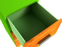 Cabinet with three drawers. 3D illustration of cabinet with three drawers Stock Photos