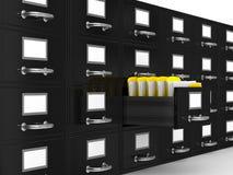 Cabinete de archivo en blanco Foto de archivo libre de regalías