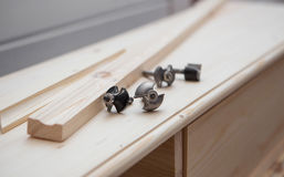 Cabinetmaking with cutter Stock Photos