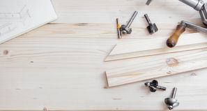 Cabinetmaking with cutter Royalty Free Stock Photos