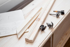 Cabinetmaking with cutter Royalty Free Stock Photography