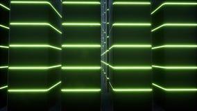 Cabinets neon data center Modern equipment datacenter techno led interior