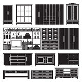 Cabinets and shelves vector set Royalty Free Stock Photography