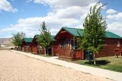 Cabins. Row of three small cabins in a small desert town Stock Photo