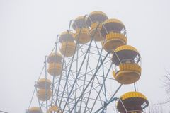 Cabins of the abandoned Ferris wheel. Winter Stock Images