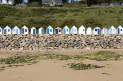 The cabins. Beach cabins on the hill in Normandy, France stock photography