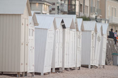 Cabins on the beach. In Normady Royalty Free Stock Image