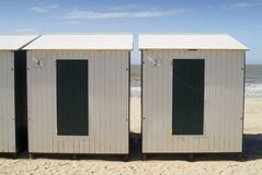 Cabins on the beach (North sea) Royalty Free Stock Image
