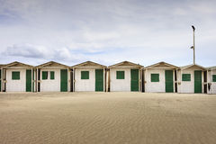 Cabins on the beach, Ostia. Cabins row in the beach prepared for the summer season, Ostia, Rome, Italy royalty free stock images