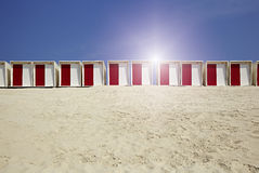 Cabins on the beach in the sand Stock Photos