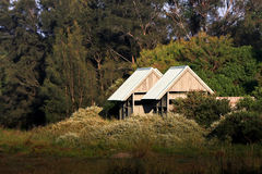 Cabins in the bush sunlight. Two cabins in the bush, in sunlight Royalty Free Stock Images