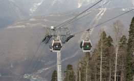Cabins of a cableway Royalty Free Stock Image