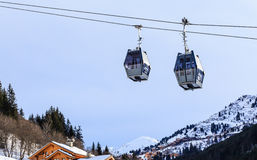 Cabins cableway ski resort of Meribe Royalty Free Stock Photography