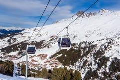 Cabins cableway ski resort of Meribel. Village of Meribel-Mottaret Royalty Free Stock Image
