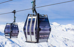Cabins cableway ski resort of Val Thorens Stock Image