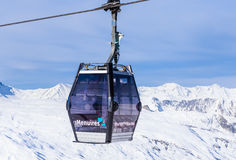 Cabins cableway ski resort of Val Thorens Royalty Free Stock Photography
