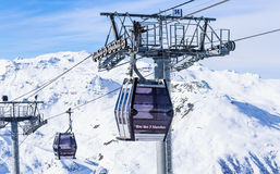 Cabins cableway ski resort of Val Thorens Royalty Free Stock Image